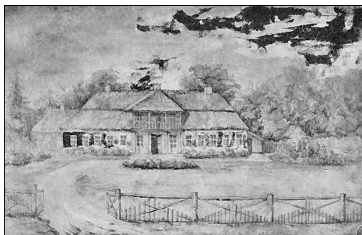 Ordų šeimos dvaras. N. Ordos piešinys, 1860 m.
